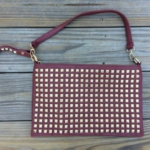 MMS Women Handbag Clutch Maroon with Gold Stud